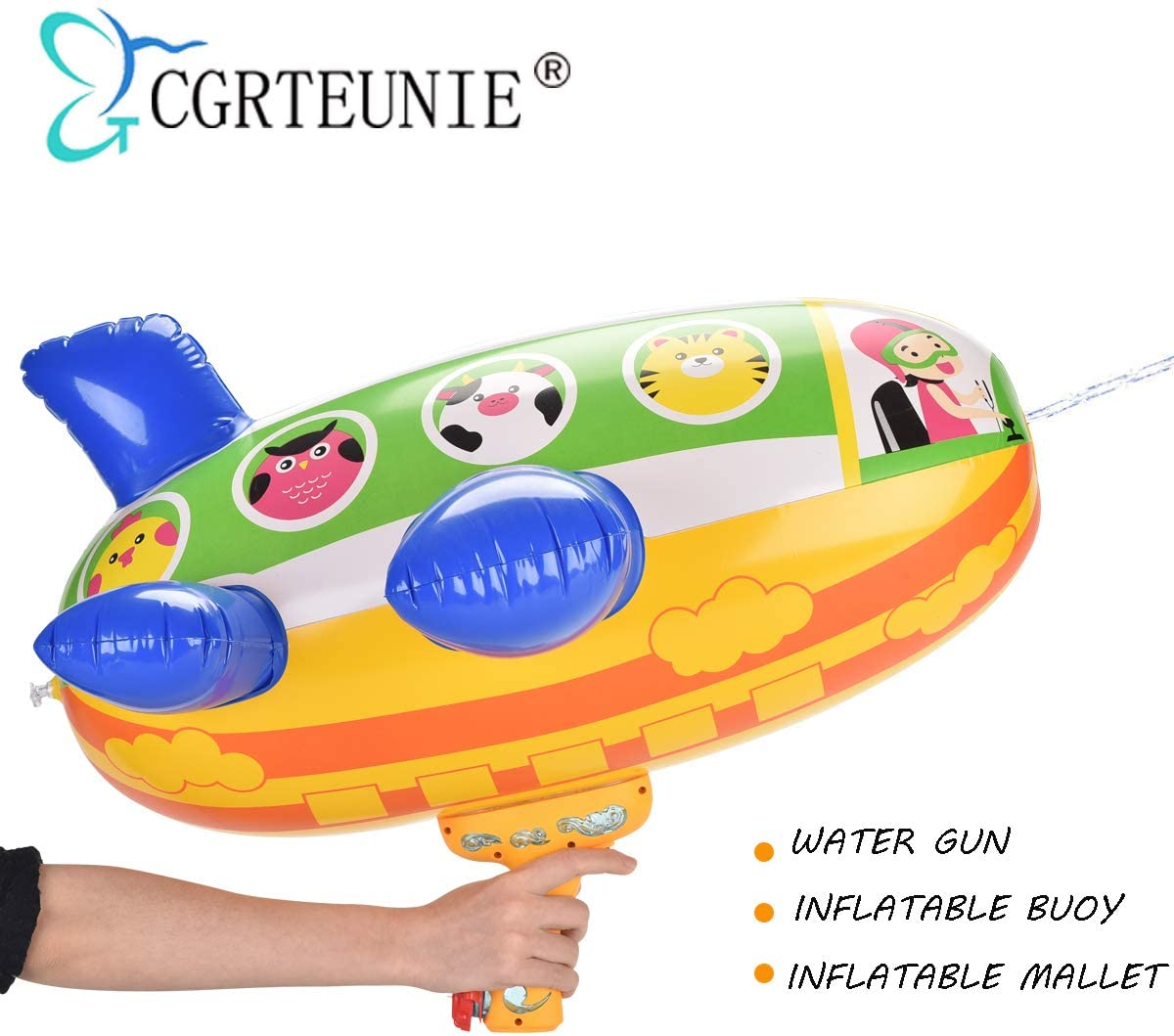 CGRTEUNIE Multifunction Squirt Water Gun Water Blaster Sprinkler with Baby Pool Swimming Float Buoy and Inflatable Hammer Function (Airship Squirt Gun)
