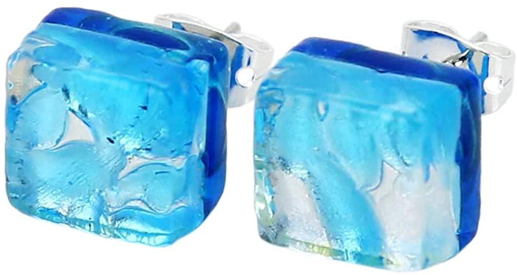 GlassOfVenice Murano Glass Venetian Reflections Square Stud Earrings - Aqua Silver