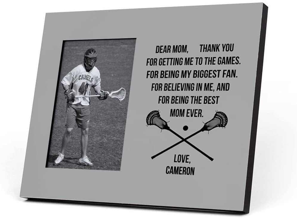 ChalkTalkSPORTS Personalized Guys Lacrosse Photo Frame | Dear Mom Heart | Gray