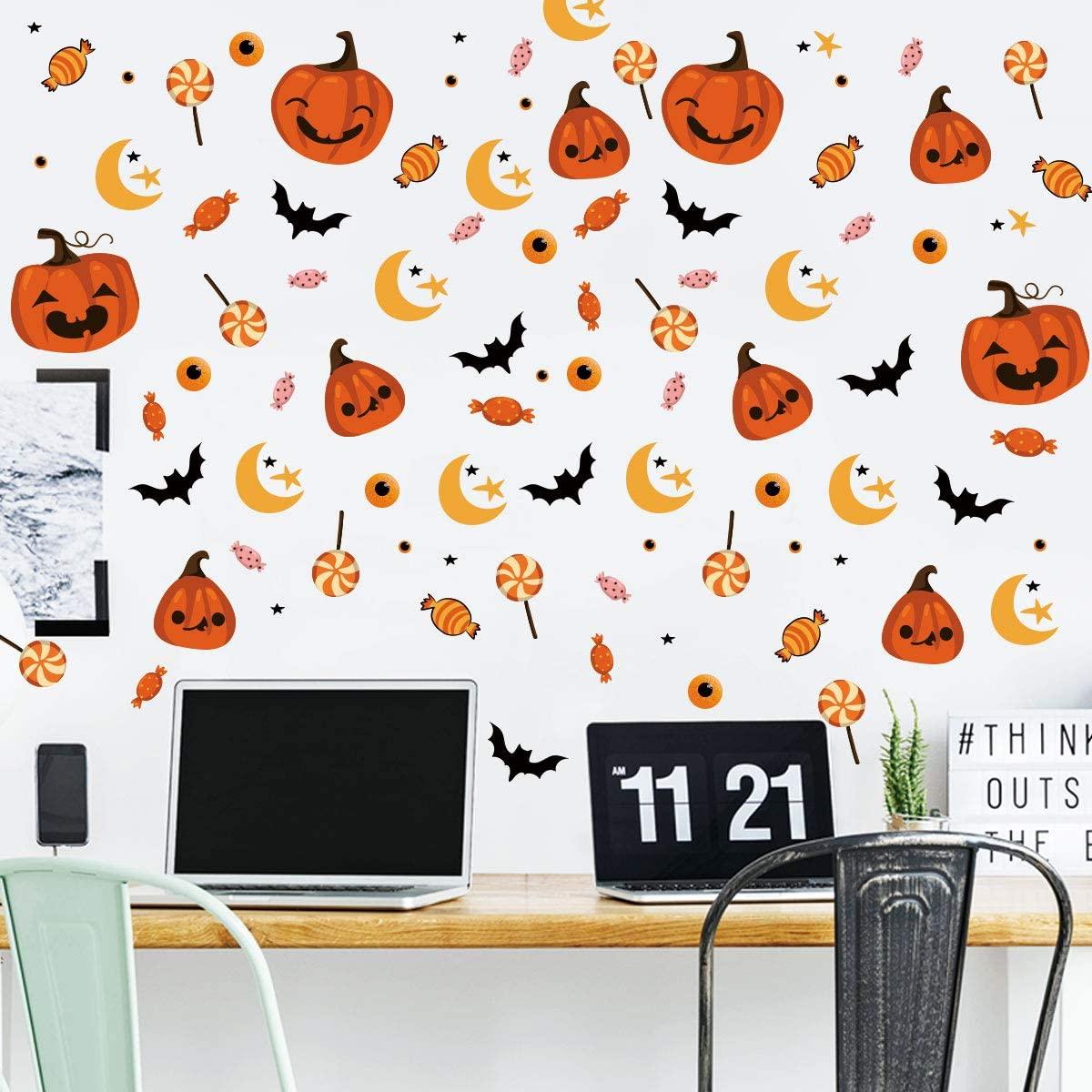 6 Set Reative Halloween Wall Stickers,Funny Pumpkin+Lollipop Wall Decal for NurserySchool Kids Room Living Room Wall Art Decor