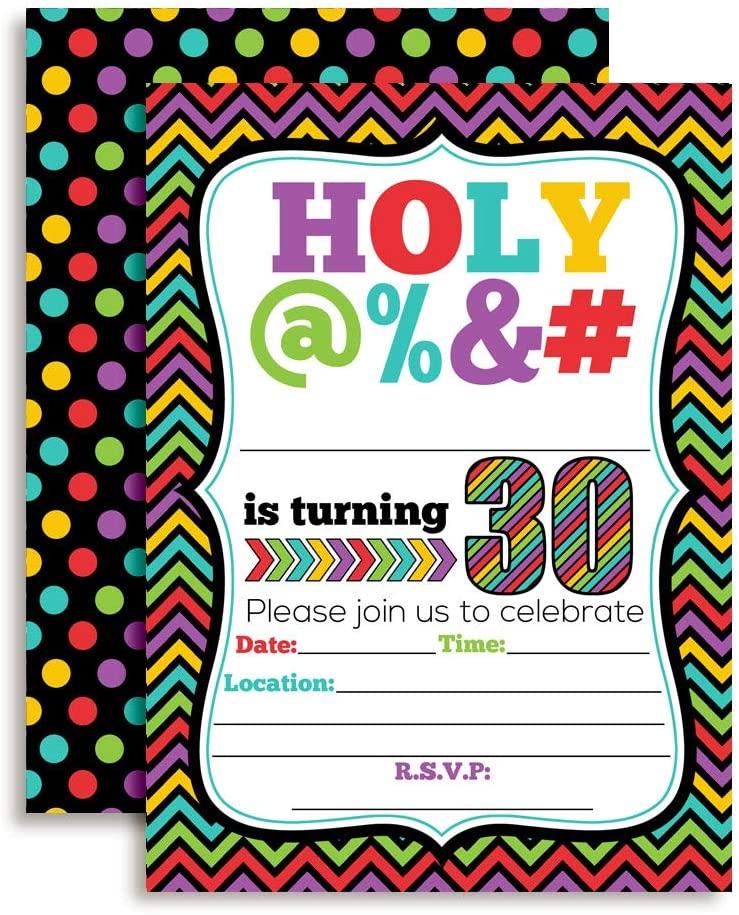 HOLY @% 30th Birthday Party Invitations, 20 Funny 5