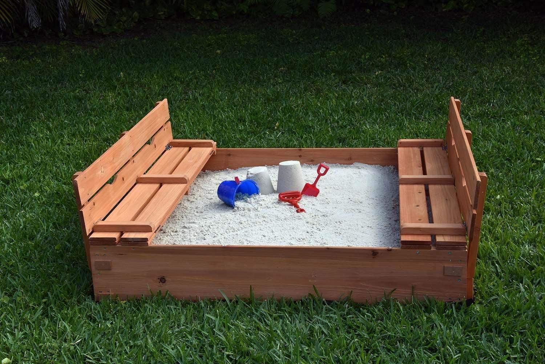 Naomi Home Kids Cedar Sandbox, Wooden Sandbox with 2 Foldable Benches