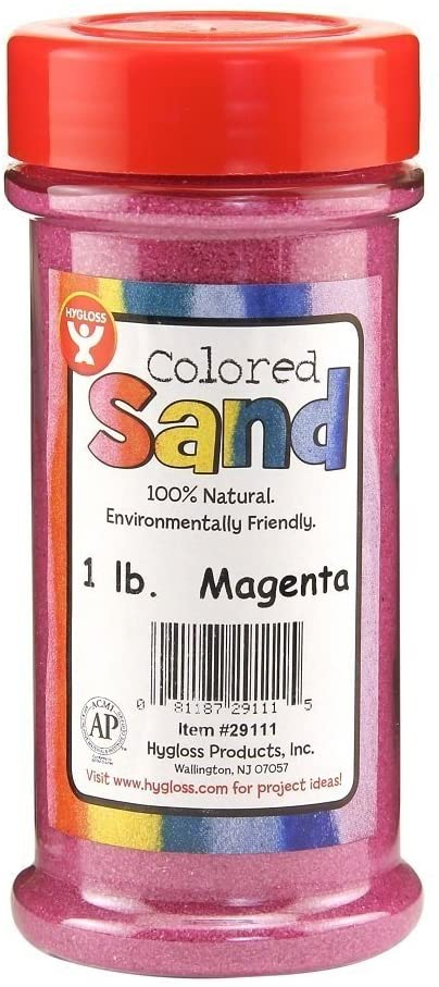 Hygloss Products Colored Play Sand - Assorted Colorful Craft Art Bucket O' Sand, Magenta, 3 lb