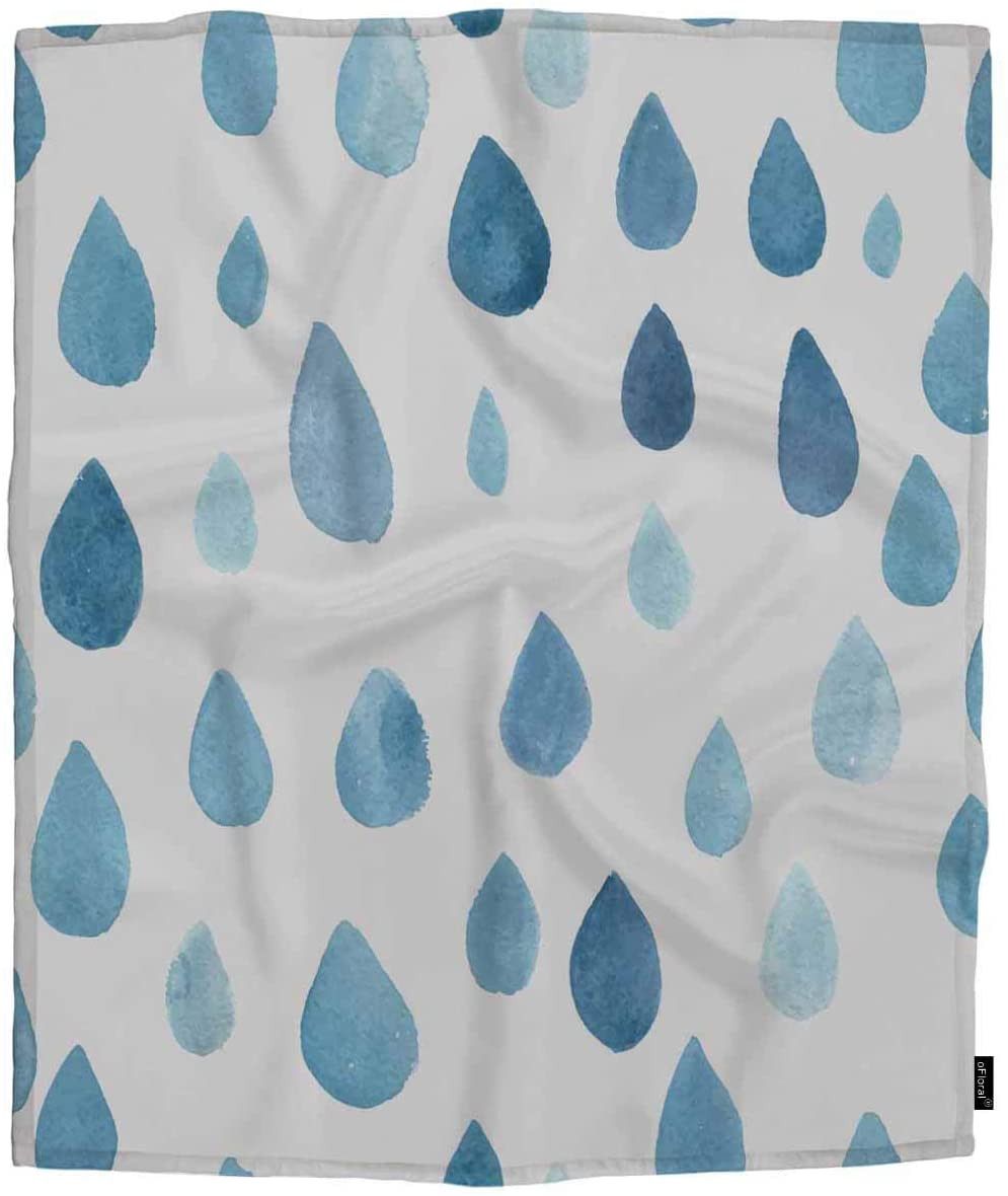 oFloral Raindrops Fleece Throw Blanket for Girls,Boy,Baby,Kids Cute Watercolor Rain Drop Blue Drop Baby Summer Weather Cozy Blanket for Bed, Couch, Car 30x40 Inches