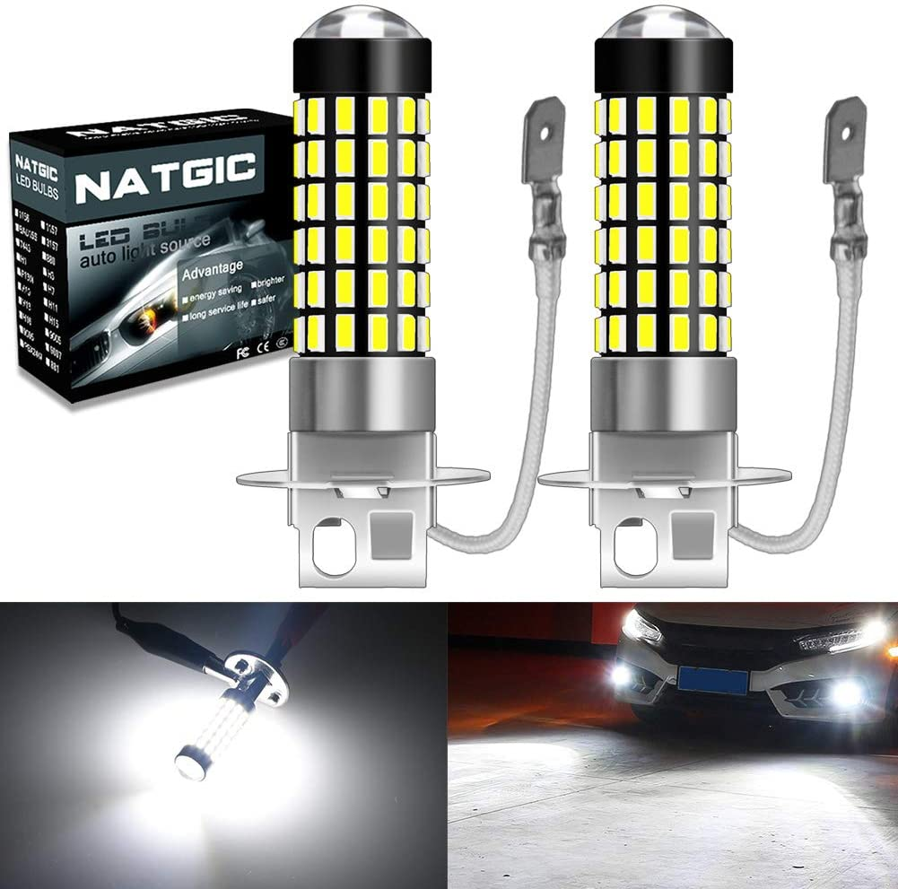 NATGIC H3 Led Bulbs 1800LM 6500K 3014SMD 78-EX Chipsets with Lens Projector for Fog Lights, Daytime Running Lights, Automotive Driving Lamps, 12-24V, Xenon White (Pack of 2)