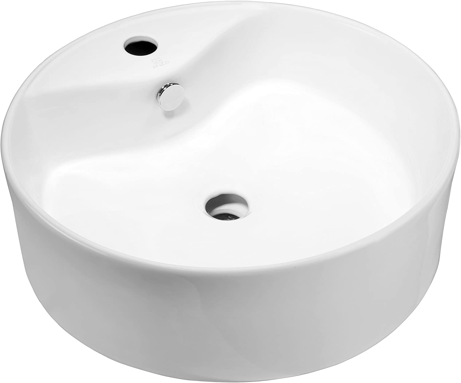 ANZZI Vitruvius Modern Polished White Ceramic Round Sink for Bathroom | 18 Inch Vitreous Vanity Sink Single Bowl for Lavatory | Top Mount Porcelain Bathroom Sink above Counter Top | LS-AZ129