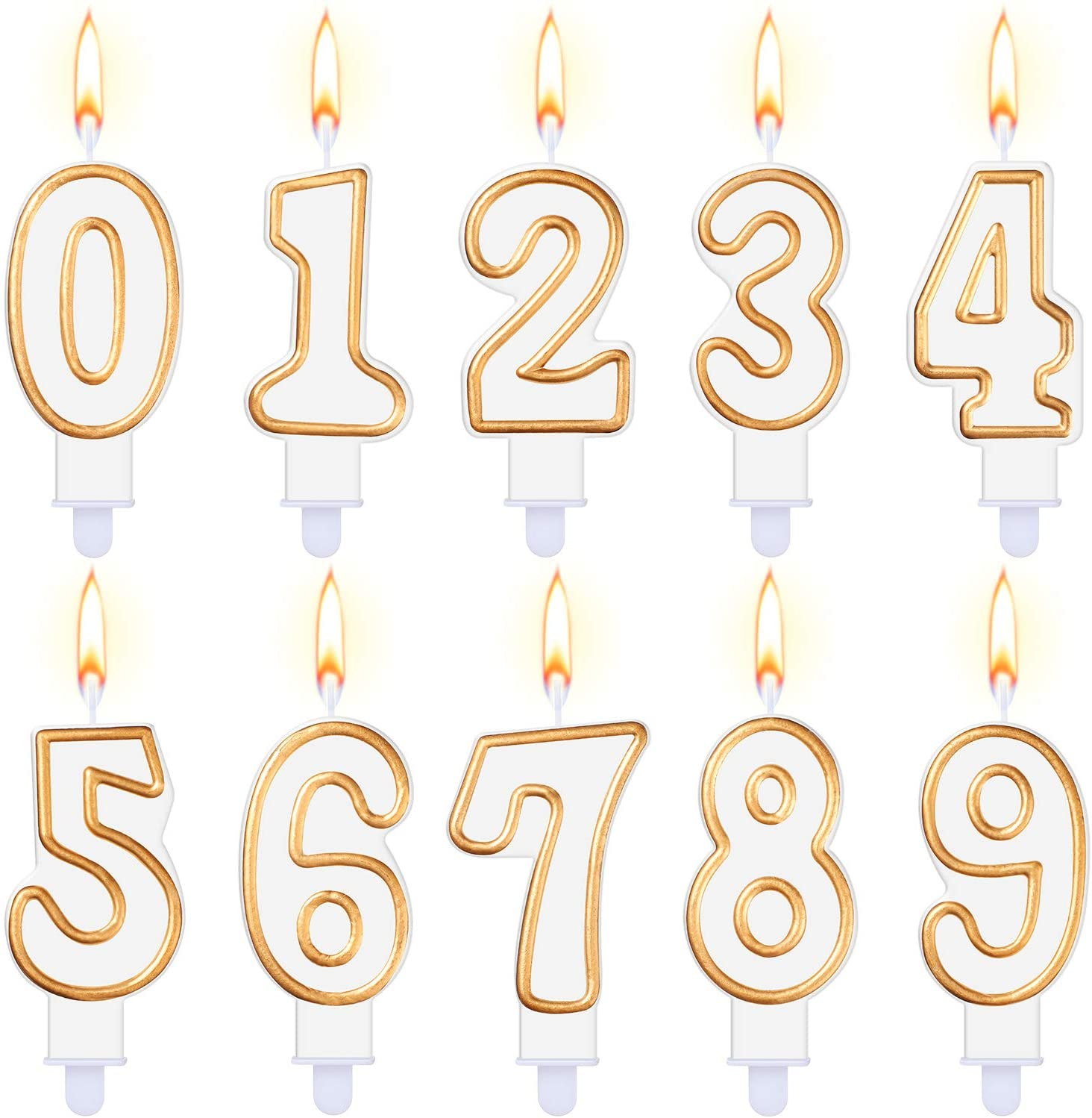 Yaomiao 10 Pieces Birthday Numeral Candles Cake Numeral Candles Number 0-9 Glitter Cake Topper Decoration for Birthday Party Favor (Golden Edge)