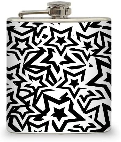 Hip Flask Holding 6 oz - B/W Stars Design - Pocket Size, Stainless Steel, Rustproof, Screw-On Cap - Black and White Finish - Black Gift Box Included