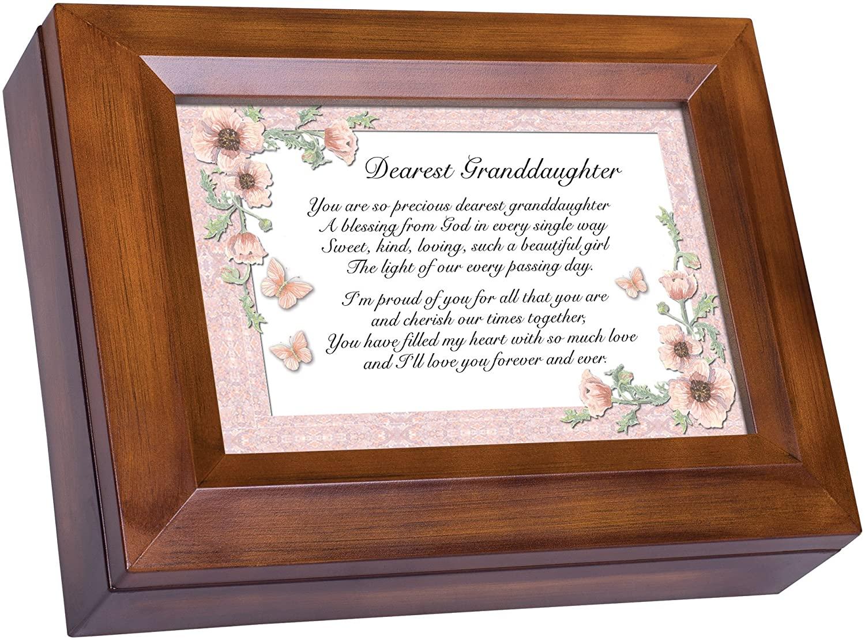 Cottage Garden Dearest Granddaughter Love You Forever Woodgrain Digital Keepsake Music Box Plays Blessings