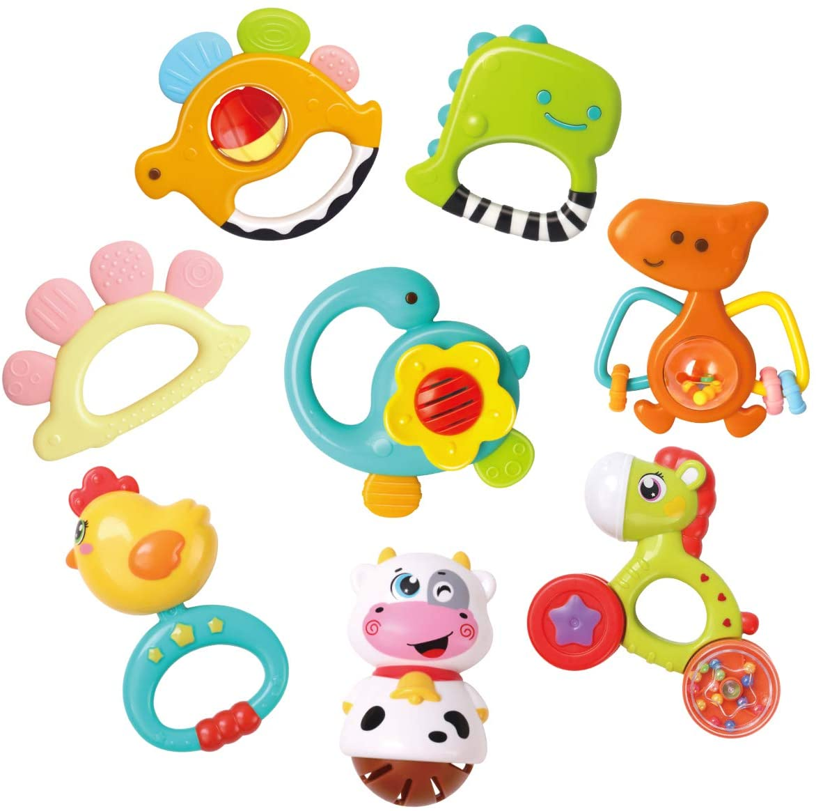GILOBABY Baby Animal Rattle Teether, Shaker, Roll Rattle, Early Educational Toys for 3 6 9 12 18 Month Baby Infant Toddler, Newborn