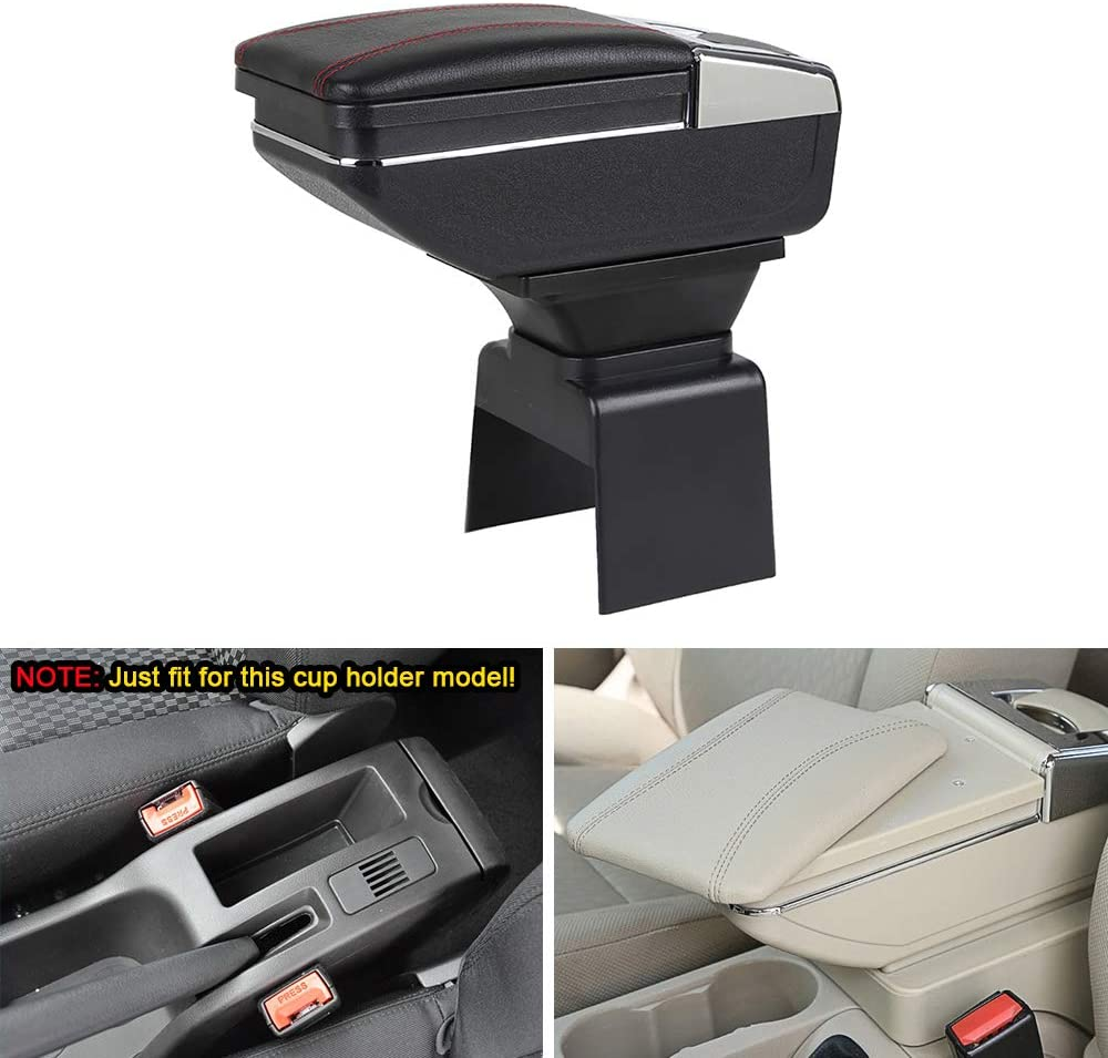MyGone Center Console Armrest Box for 2004-2013 Peugeot 307, Car Interior Accessories Leather Arm Rest Organizer with Adjustable Cup Holder Removable Ashtray Beige