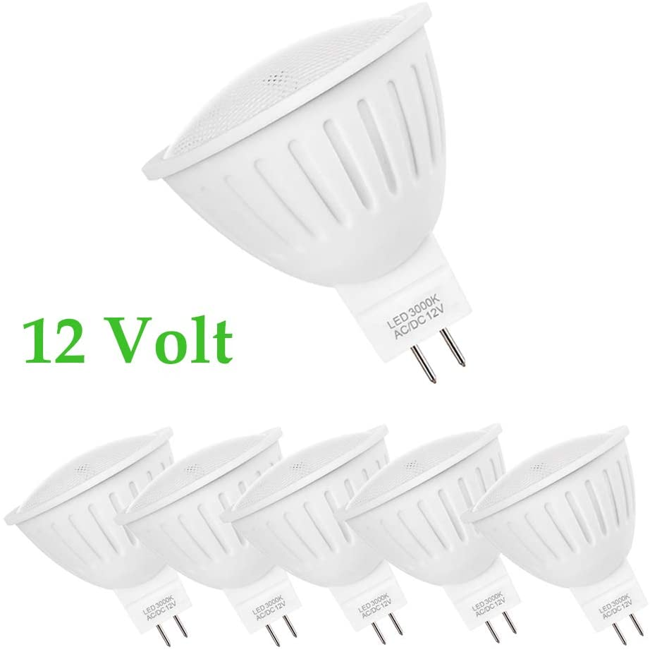 MR16 LED Bulb 3000K, 12 Volt Low Voltage 700Lumens GU5.3 Base, Equivalent 50W - 65W Halogen, 7W Track Light Warm White, 120 Beam Wide Angle, Non-Dimmable, Pack of 6