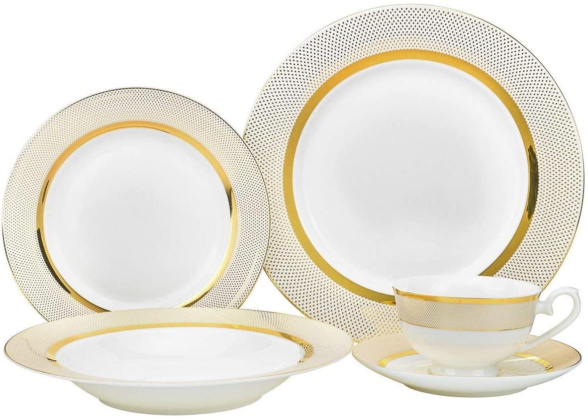 Royalty Porcelain 20-pc Dinnerware Set 'Isabella' For 4, Bone China Porcelain