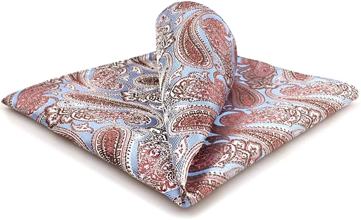 S&W SHLAX&WING Fashion Men's Necktie Paisley Blue Extra Long Tie Set
