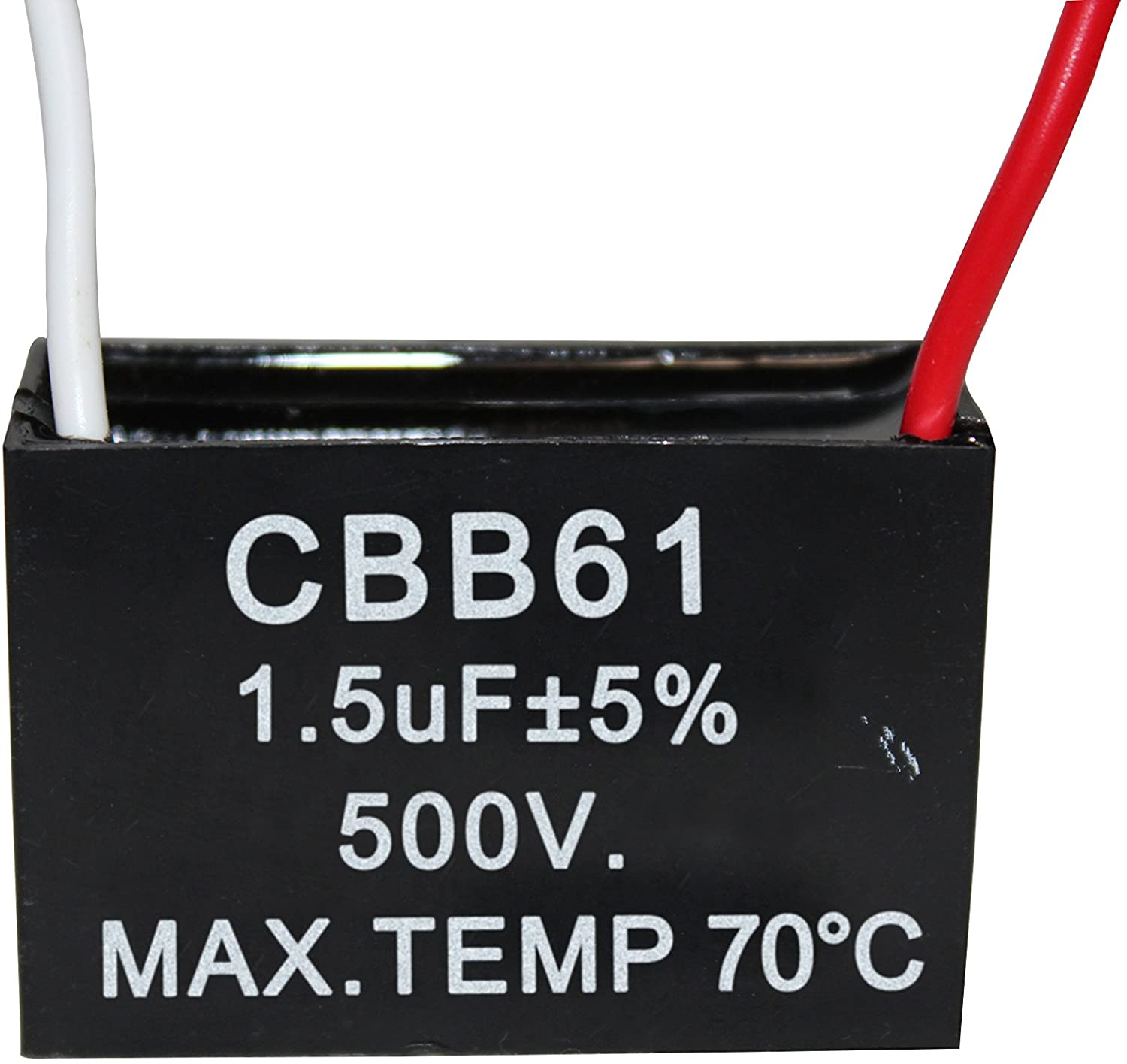 CompStudio 1PC 500V 1.5UF CBB61 Terminal Ceiling Fan Motor Running Rectangle Capacitor 2 wires