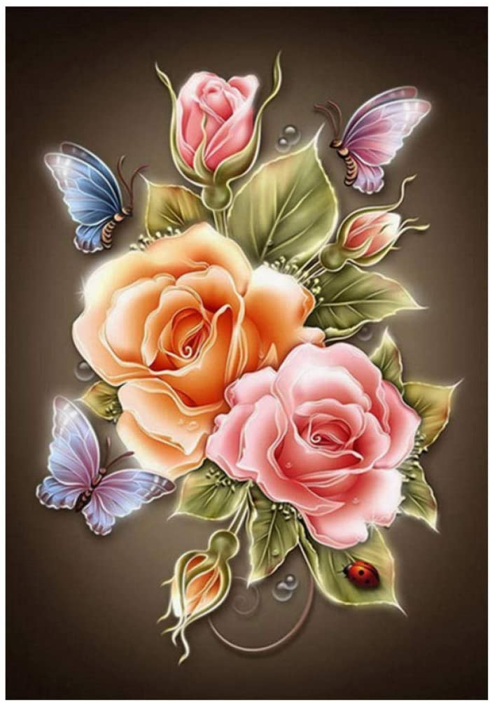 DIY 5D Diamond Painting Kit, Flowers butterfly Full Diamond Embroidery Rhinestone Cross Stitch Arts Craft for Home Wall Decor 16x20 inches/40x50cm