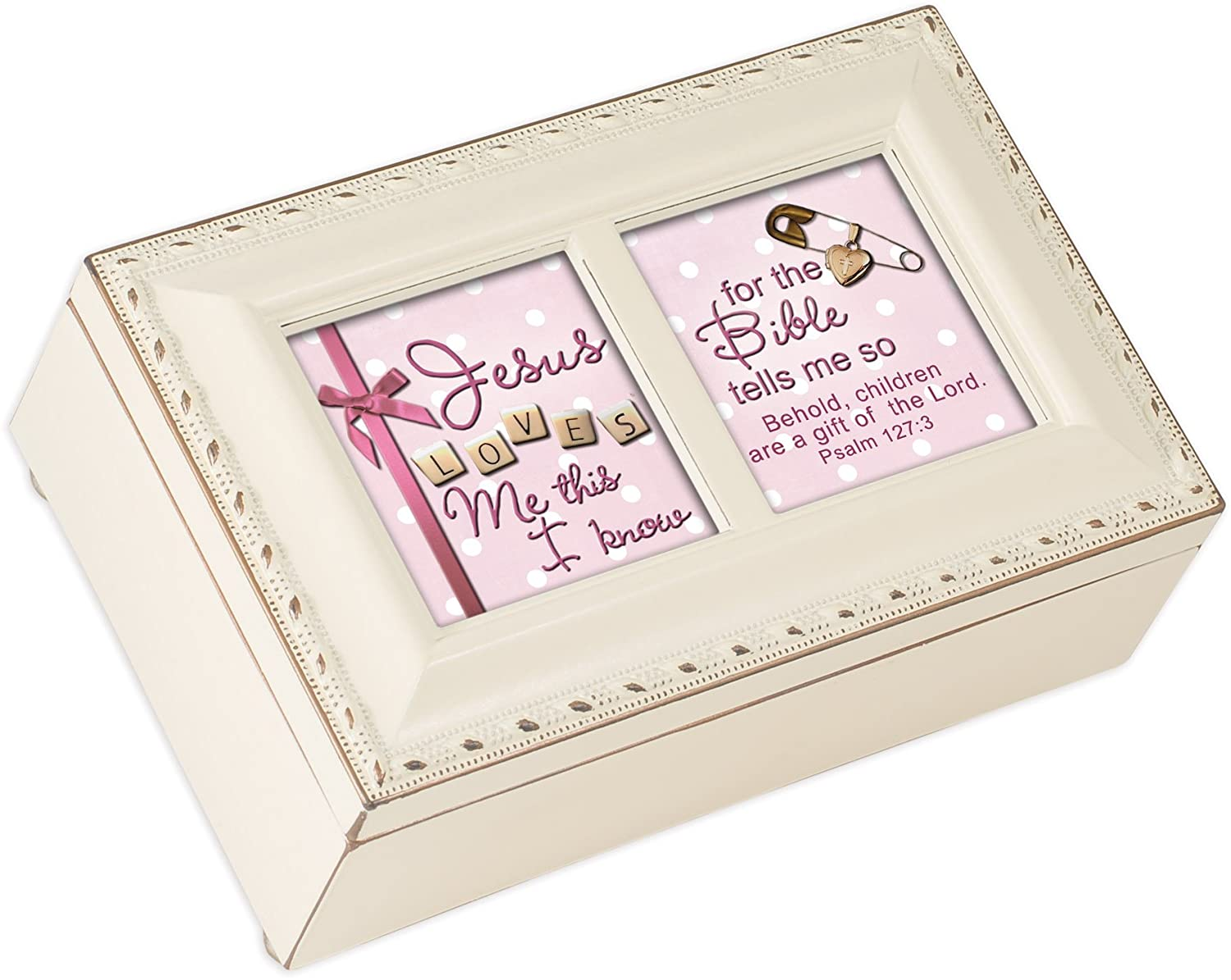 Cottage Garden This I Know The Bible Tells Me Matte Ivory Jewelry Music Box Plays Jesus Loves Me
