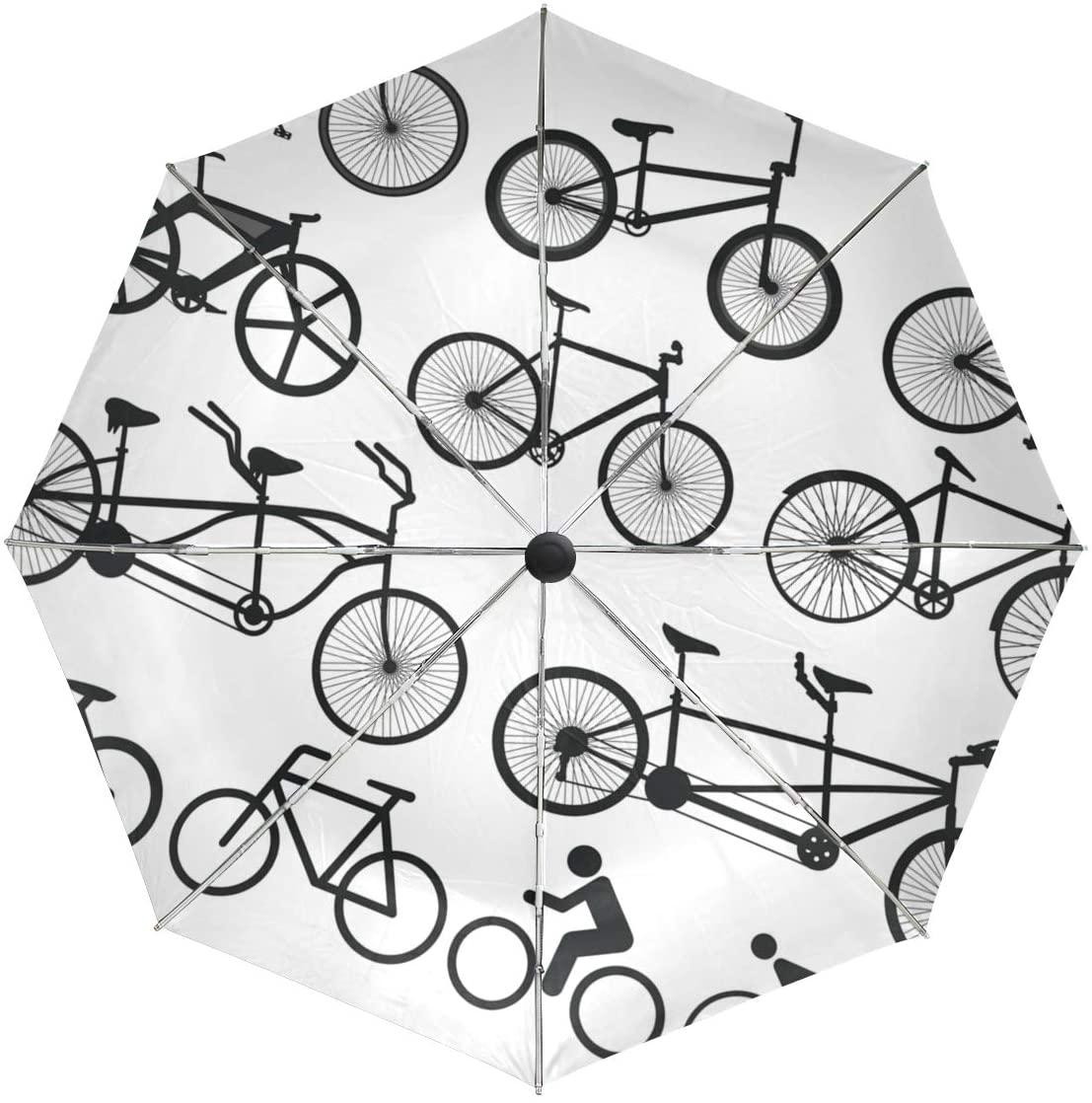 Senuu Black White Bike Umbrella Large Travel Auto Open Close Sun Blocking Umbrellas for Women Men