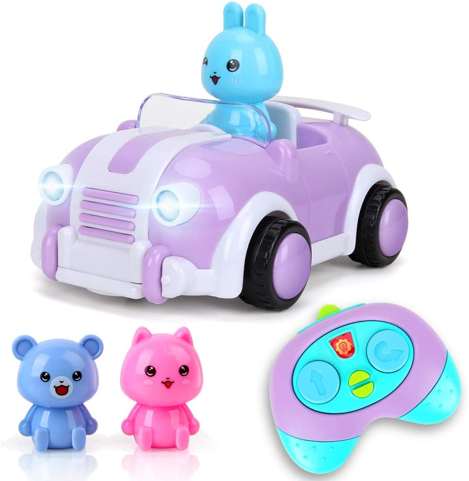 BeebeeRun Cartoon Remote Control Car Toys for 18M+ Year Old Kids Boys Girls, R/C Race Car with Music(Purple)