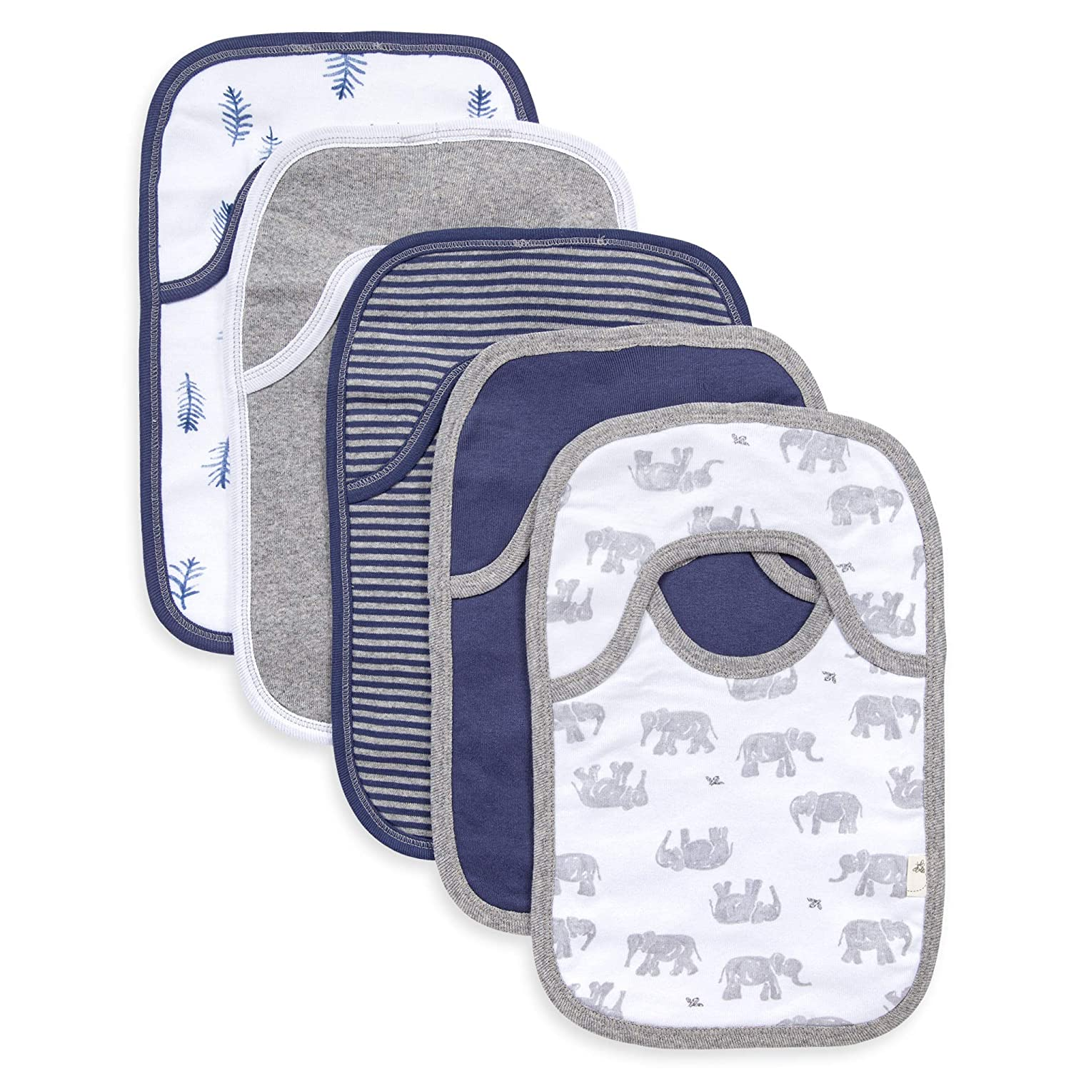 Burt's Bees Baby Bibs, 5-Pack Lap-Shoulder Drool Cloths, 100% Organic Cotton with Absorbent Terry Towel Backing (Wandering Elephants)
