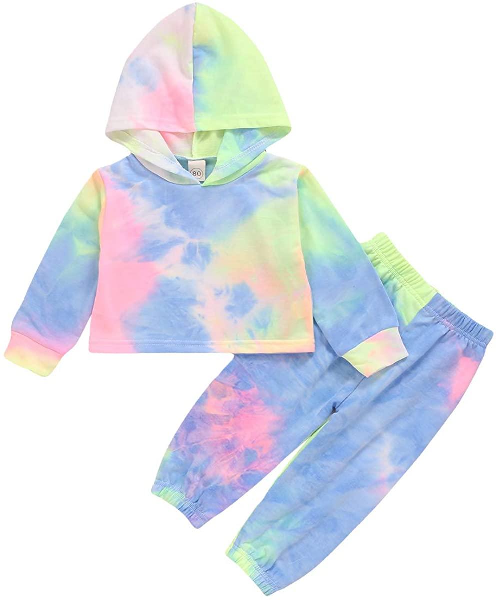 Toddler Kids Girl Clothes Tie Dye Long Sleeve Hoodie Sweatshirt Pants Set 2Pcs Toddler Girl Fall Clothes Set