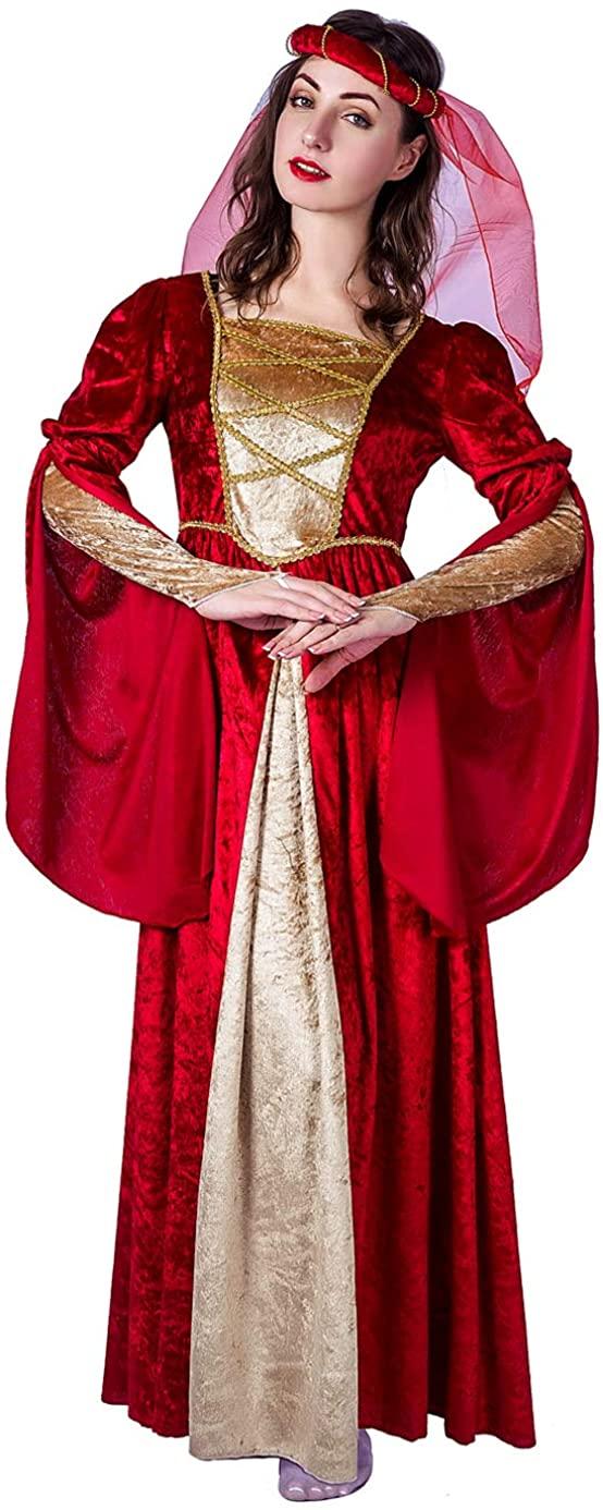 Women's Medieval Renaissance Princess Red Fancy Dress Costume