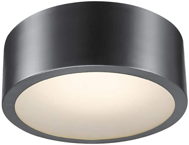 Globe Electric Edinburg LED Integrated Flush Mount Ceiling Light, Black Iron Finish, Frosted Glass Shade, 18W, 3000 Kelvin, 1100 Lumens, Dimmable 60304