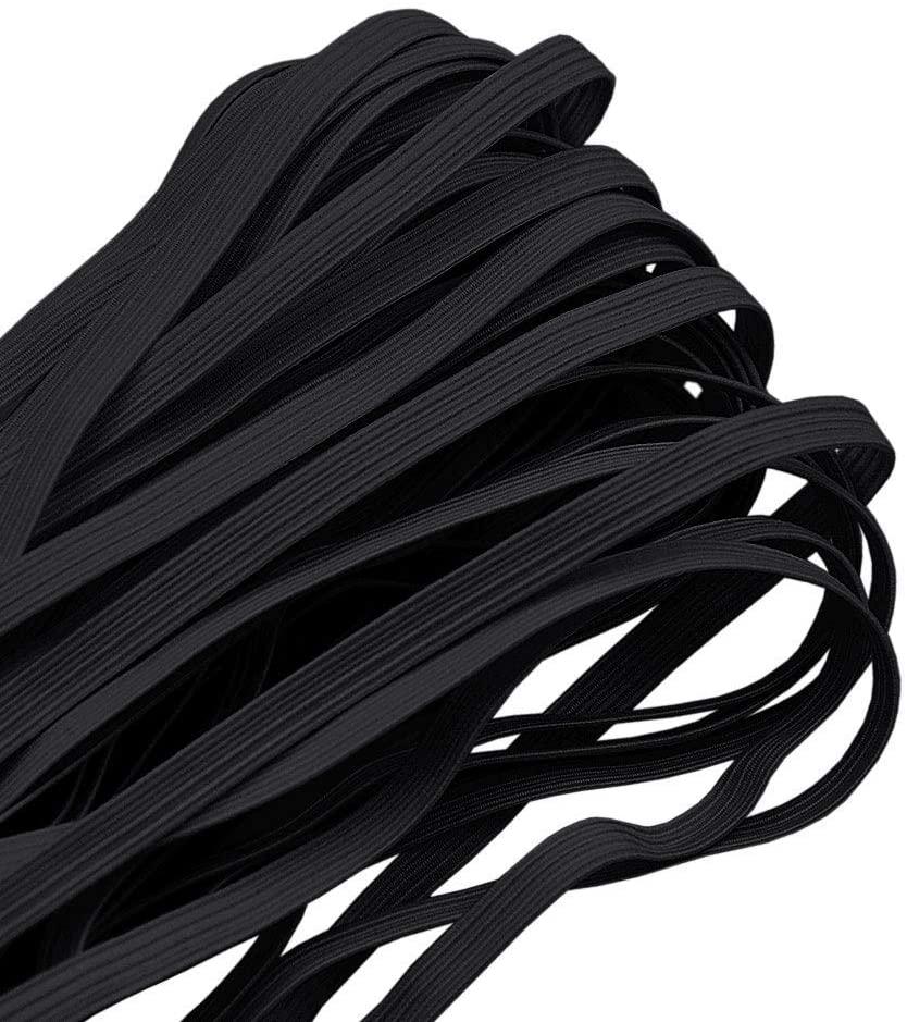 Elastic Band for DIY Mask, 6mm 1/4'' Flat Black Elastic String Cord Elastic Rope Heavy Stretch High Elasticity Knit Strap for Making Masks DIY Sewing Crafts 10M(10.9Y) + Free Tape Ruler