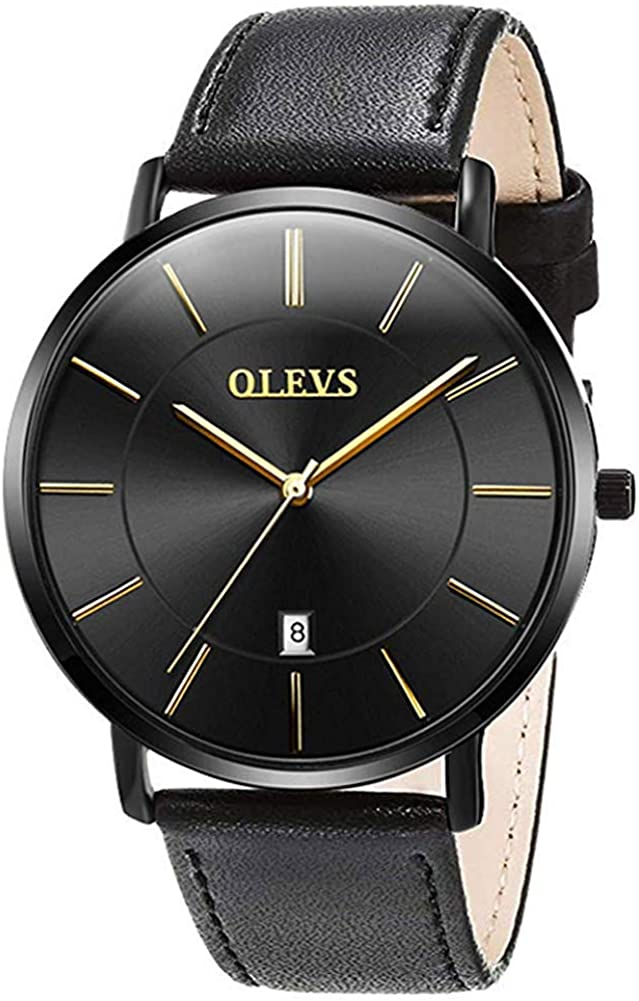 OLEVS Minimalist New Men's Ultra Thin Retro Brown Black PU Leather Band Quartz Wrist Watches, Waterproof & Calendar Window