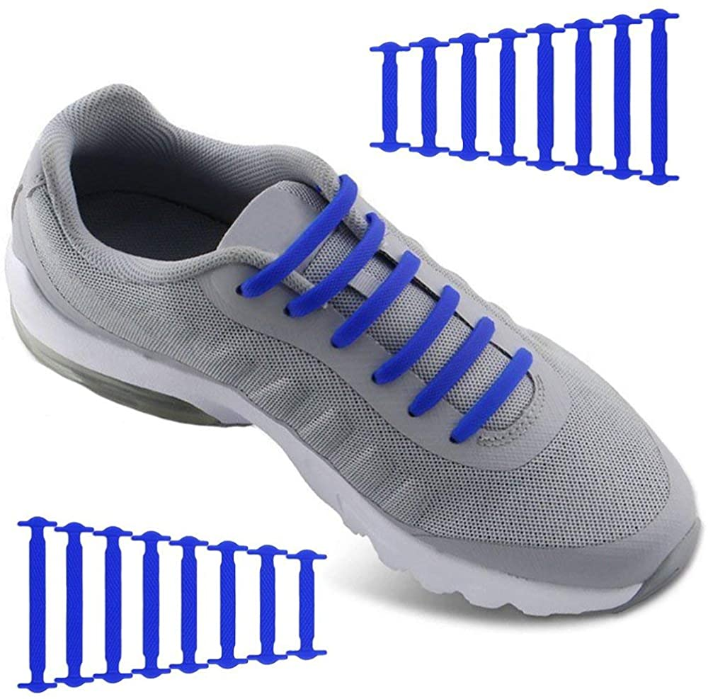 No Tie Shoelaces for Men and Women - Waterproof Silicon Flat Elastic Athletic Running Shoe Laces