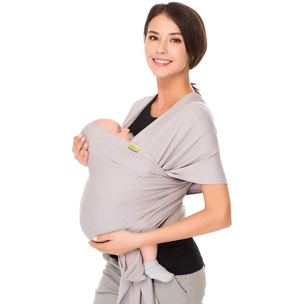 Baby Wrap Cuby Carrier Sling - Baby Sling - Baby Wrap Carrier - Infant Carrier - Baby Wrap - Hands Free Babies Carrier Wraps - Baby Shower Gift - One Size Fits All (Classic Gray)