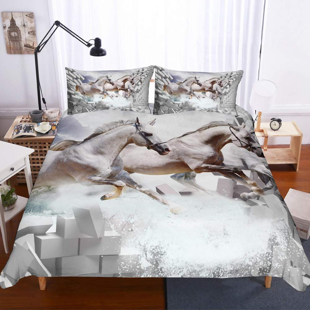REALIN Wild Animal Horse Duvet Cover Set Black Horse White Horse Galloping Herd Bedding for Children and Adult,2/3/4 pcs Microfiber Quilt Cover/Sheet/Pillow Shams,Twin/Full/Queen/King Size