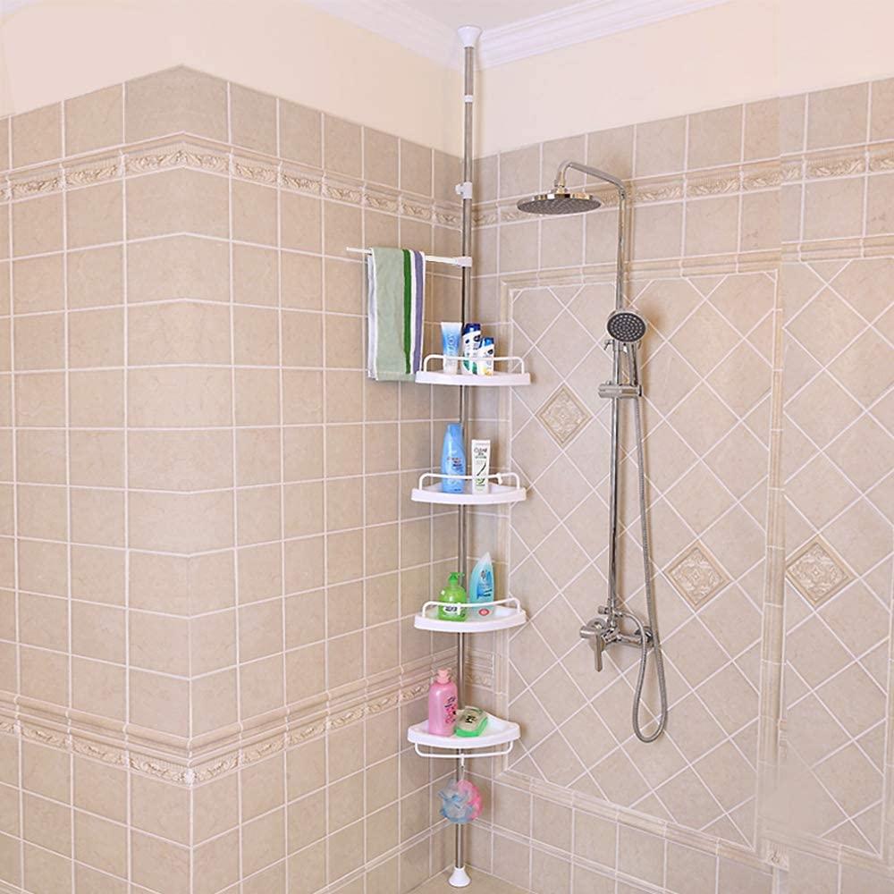 Shower Caddy,Bigzzia Bathroom Corner Shelf 4 Tier Adjustable Shower Rack Stainless Telescopic Shower Organiser Caddy Holder No Drilling Pole Height 105 to 310cm