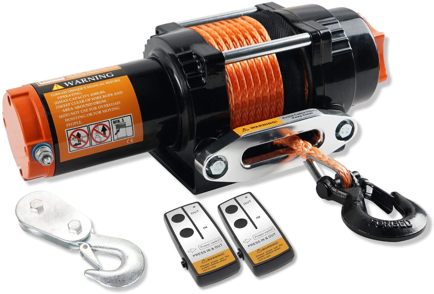 ORCISH 12V Waterproof 4500lb Electric ATV UTV Synthetic Rope Winch Kits
