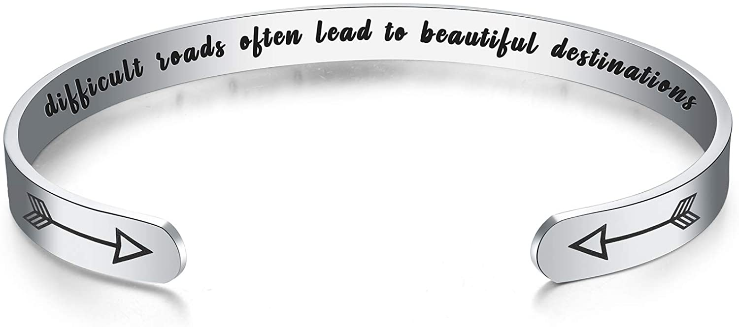 WingLove Lemonmini Inspirational Stainless Steel Cuff Bracelet Engraved Mantra Cuff Bangle Friendship Bracelet Personalized Friendship Gifts Inspirational Gifts for Women