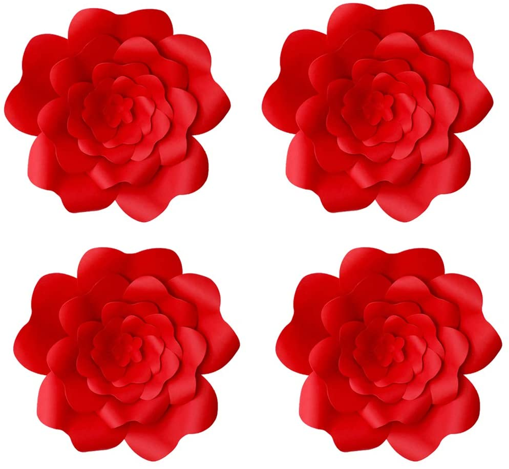 YLY's love 3D Paper Flower Decorations Giant Paper Flowers Party DIY Handcrafted Paper Flowers for Wedding Backdrop Bridal Shower Baby Shower Nursery Wall Home Decor (Red, 4pcs-8in)