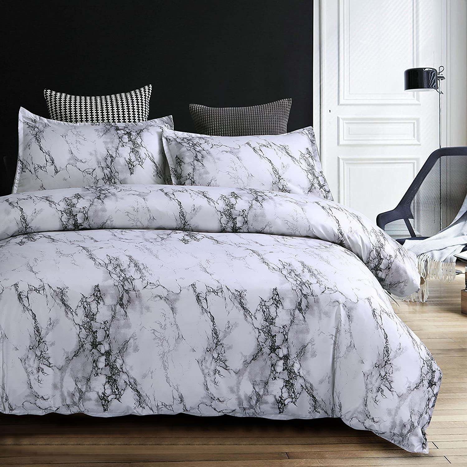 YU YANG Queen Bedding Duvet Cover Set White Marble 3 Piece Luxury Microfiber Down Comforter Quilt Cover with Zipper Closure