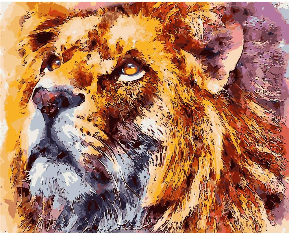 YANXIN DIY Paint by Numbers Kits for Kids and Adults,16x20 Inch Canvas Painting Pictures,Home Decor Wall Art Creative Lion Painting YX8006-OPA160