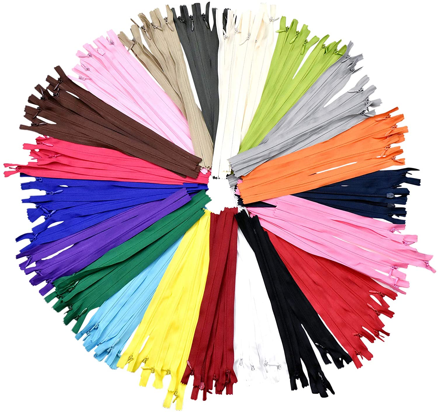 Nylon Invisible Zipper for Sewing, 10 Inch Bulk Hidden Zipper Supplies in 20 Assorted Colors; by Mandala Crafts