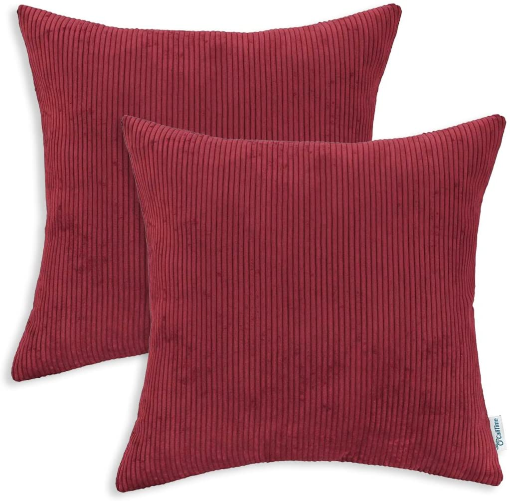 CaliTime Pack of 2 Cozy Throw Pillow Covers Cases for Couch Bed Sofa Ultra Soft Corduroy Striped Both Sides 18 X 18 Inches Dark Red