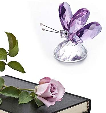 H&D Crystal Lavendar Butterfly Paperweight Figurine Ornament for Home Decor