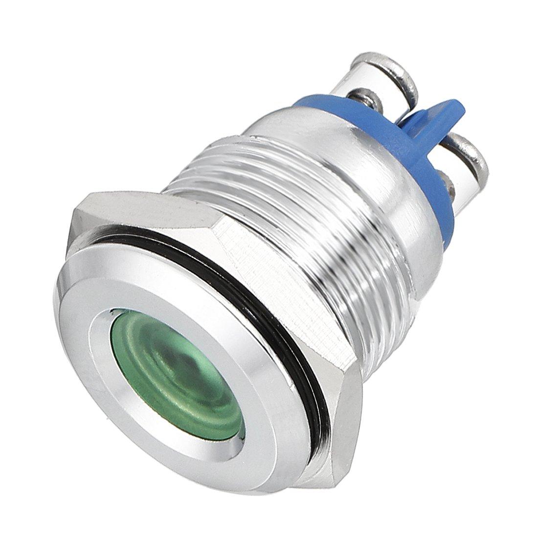 uxcell LED Indicator Light DC 12V 16mm Green Metal Shell Pilot Custom Dash Signal Lamp Flat Head