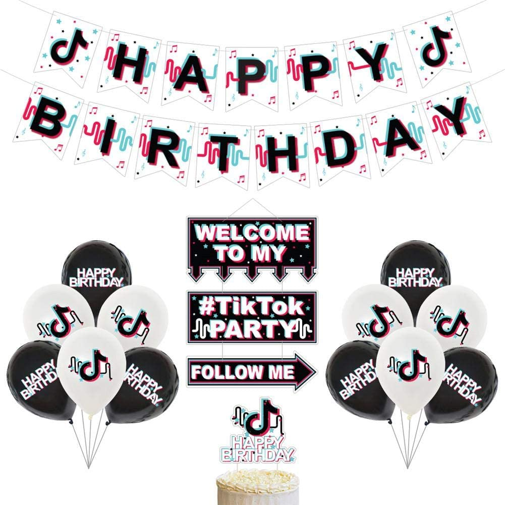 Earlyad TIK Tok Theme Birthday Party Decoration, Birthday Party Banner, Cake Top Hat and Stickers for Home Decoration