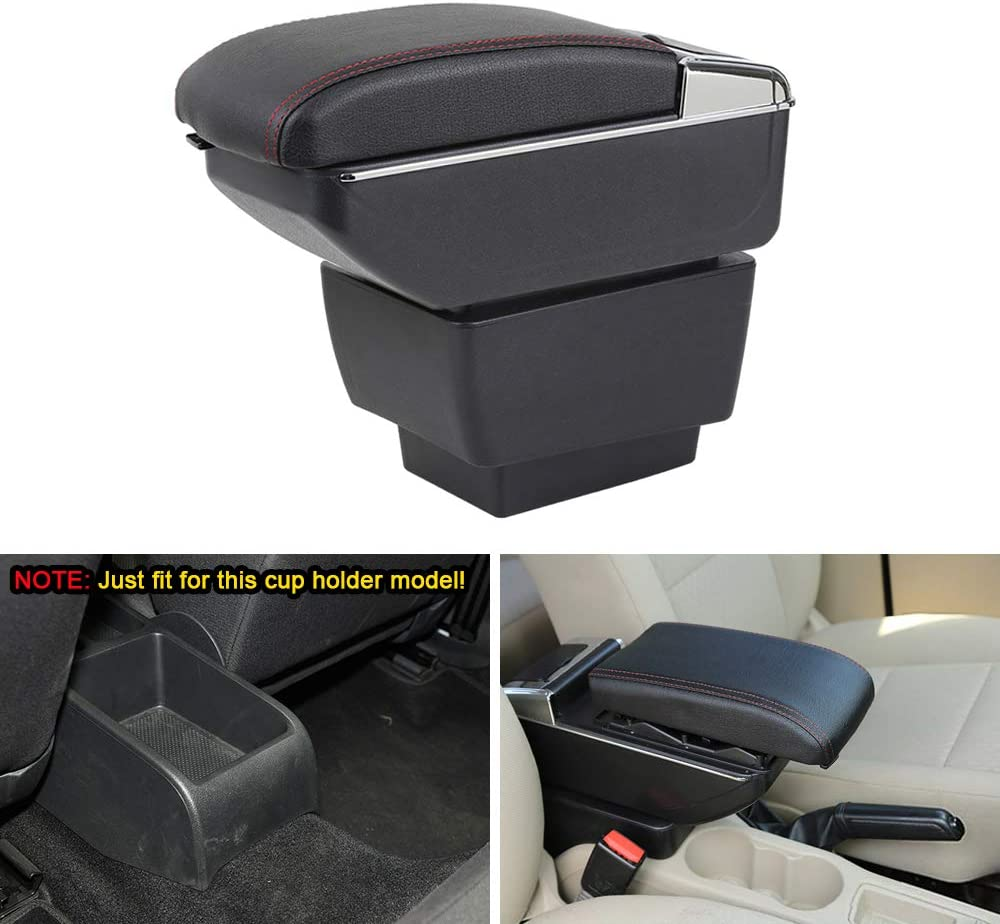 MyGone Center Console Armrest Box for 2015-2018 Skoda Octavia A7, Car Interior Accessories Leather Arm Rest Organizer with LED Lights Adjustable Cup Holder Removable Ashtray Black