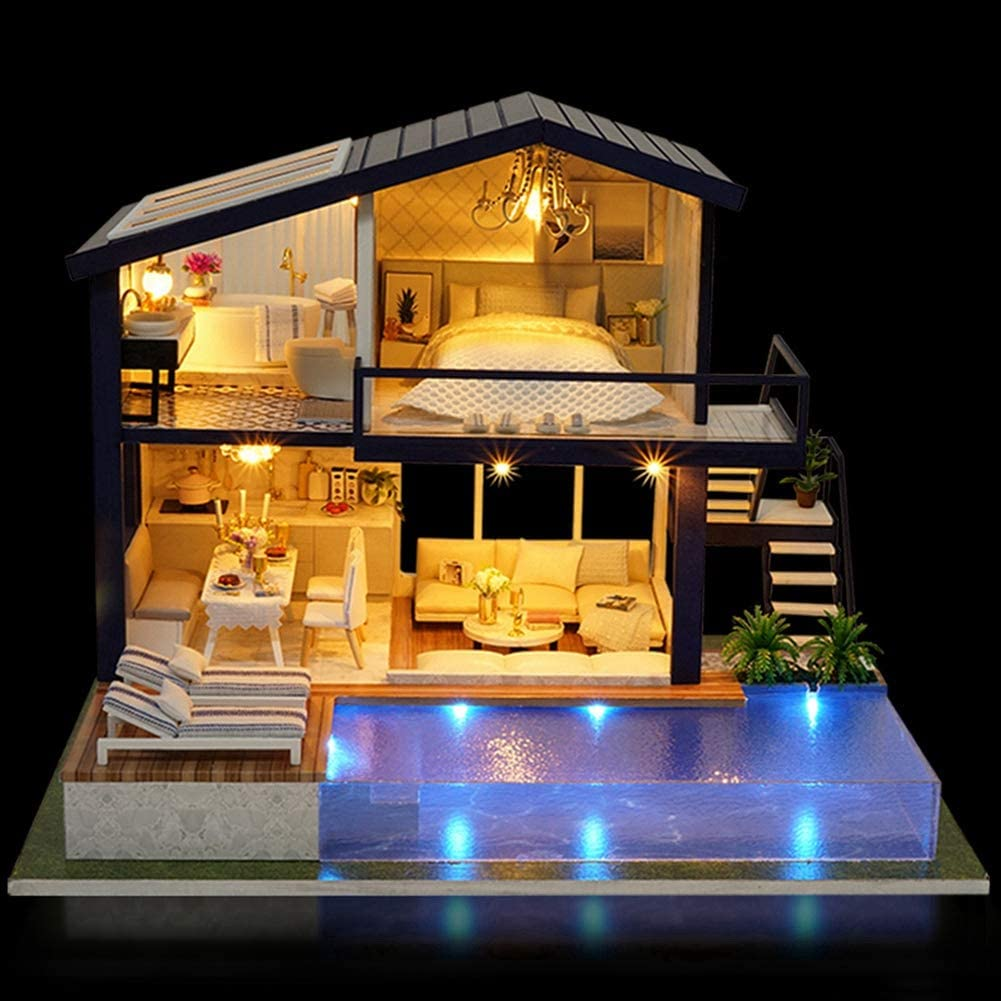 FastUU DIY Colorful Wood Miniature House, Decorative Dollhouse, Kids Toys Kids Gifts for Home Decor for Home Ornament(Time Apartment)