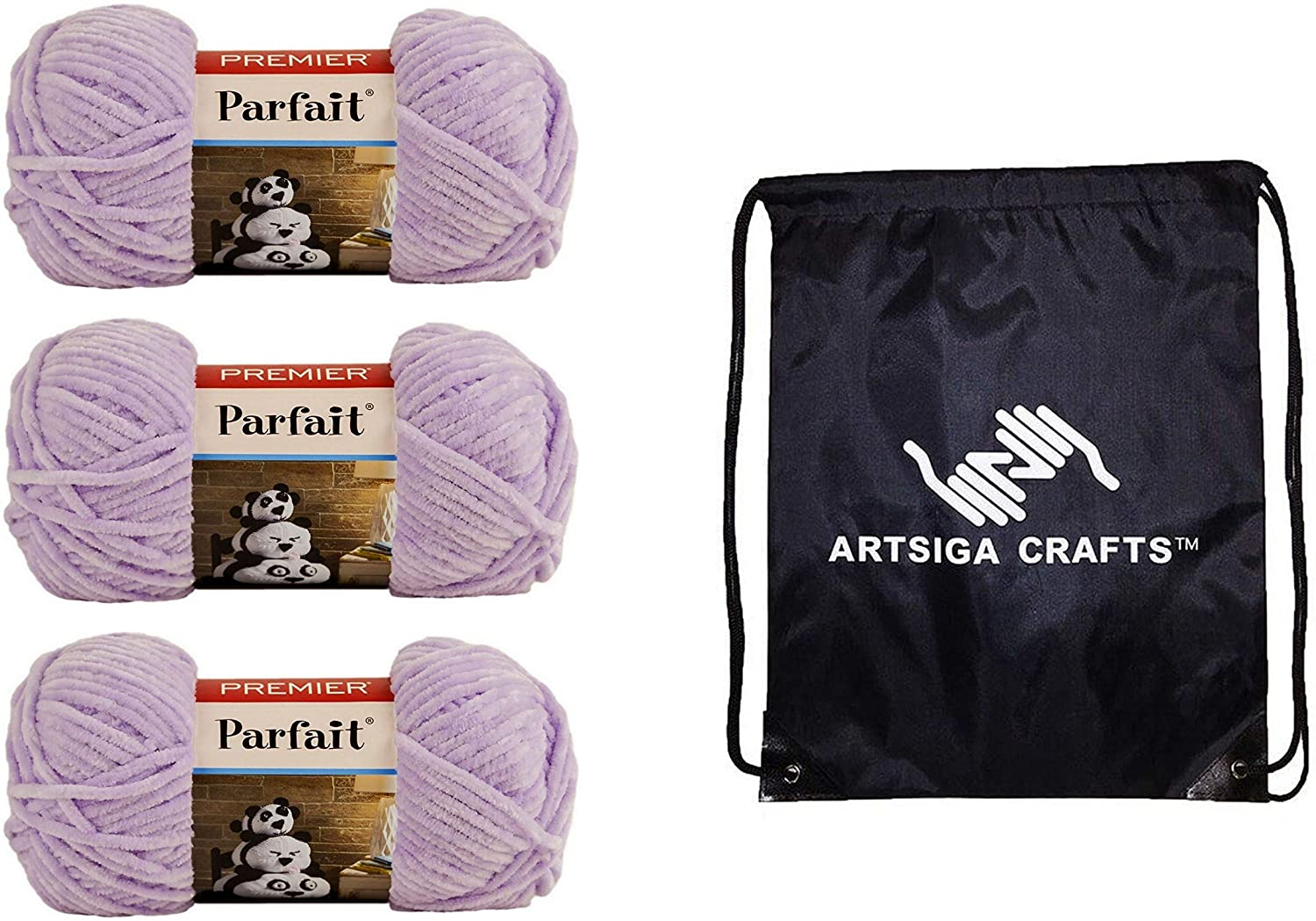Premier Knitting Yarn Parfait Solid Lilac 3-Skein Factory Pack (Same Dye Lot) 30-28 Bundle with 1 Artsiga Crafts Project Bag