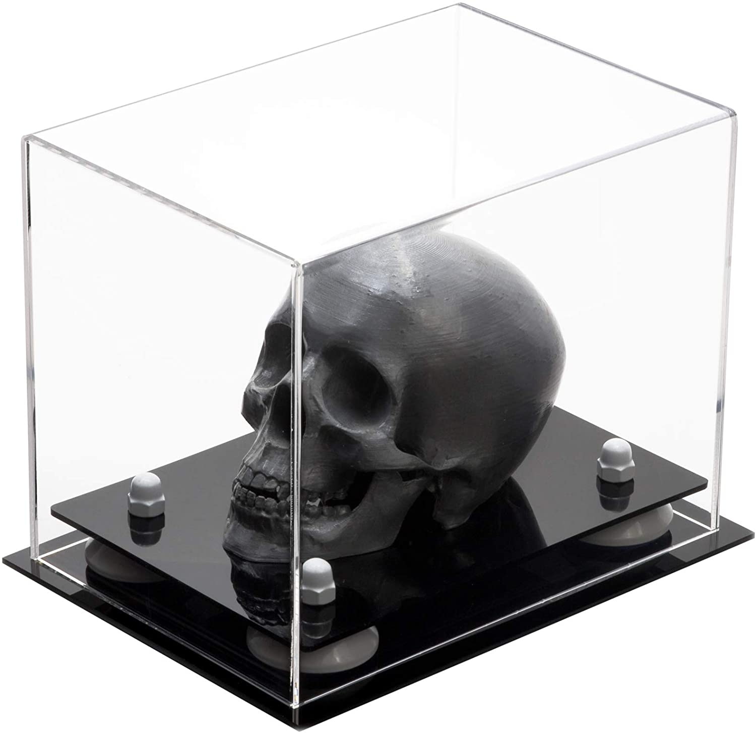 Better Display Cases Versatile Clear Acrylic Display Case - Small Rectangle Box with White Risers 8.25