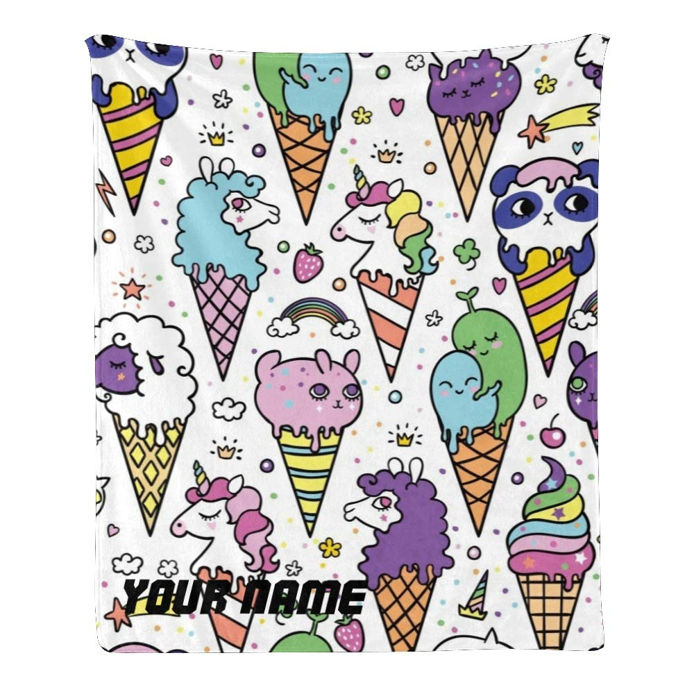 Personalized Kids Fleece Blanket with Name Custom Cute Ice Cream Baby Throw Blanket for Bed (30 x 40 inches)