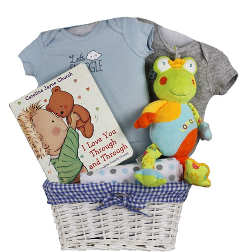 Vania's Baby Boy Gift Basket - Blue Frog Plush Toy, Baby Gift Sets for Baby Shower & Newborn Baby Essentials