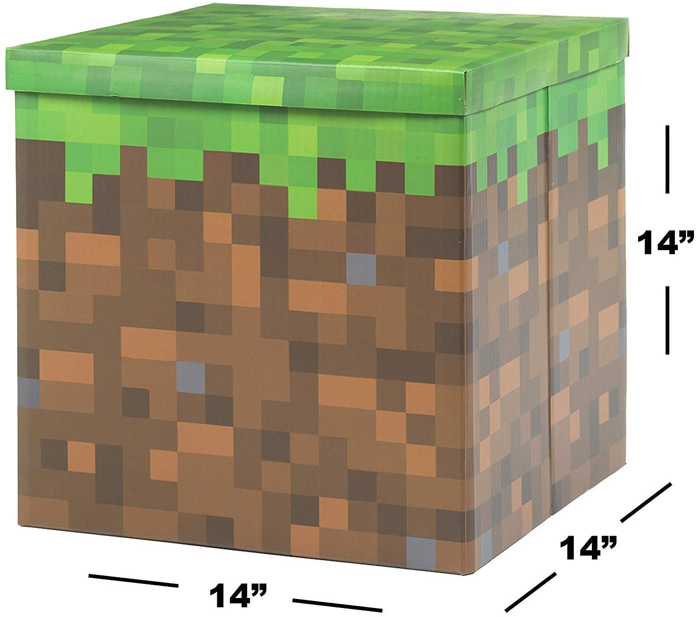 """Large Pixilated Box - Birthday Party Supplies - Decor Gift Accessory (14"""" x 14"""" x 14"""")"""